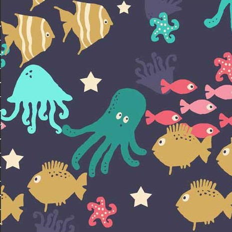 French Terry Fabic with Sea Creatures  from Avalana Collection