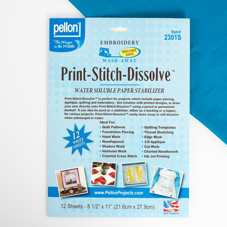 Pellon Print-Stitch-Dissolve - Water Soluble Stabilizer for Appliqué, Quilting and Embroidery