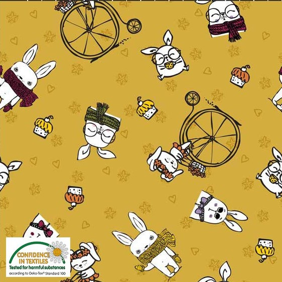 Sweatshirt Fabric - Cute Bunnies on Mustard