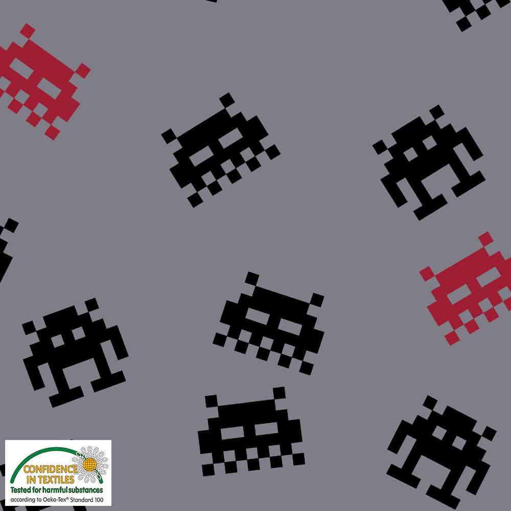 Sweatshirt Fabric - Brushed - Space Invaders on Grey
