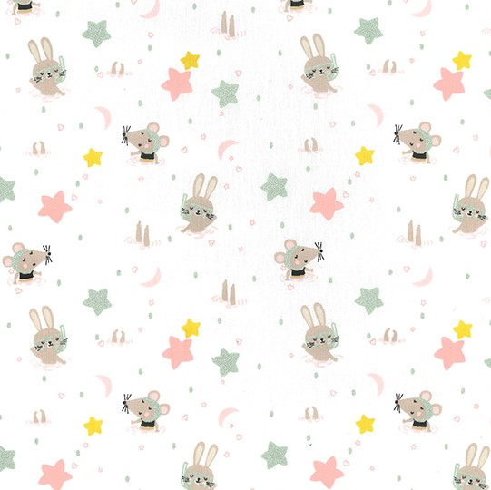Swimming Mice - Glitter Cotton Poplin