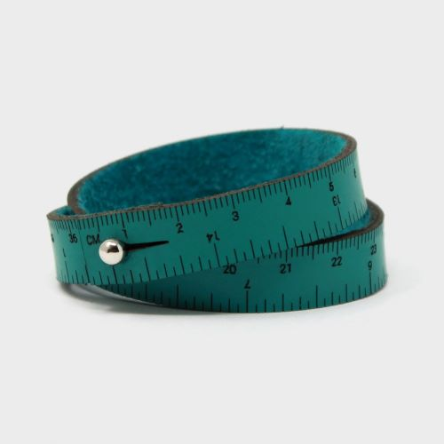 Gift Idea - Teal Leather Wrist Ruler Bracelet