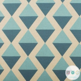Blue Diamond Linen Look Canvas Fabric - Ottoman Print - Upholstery - Bag Fabric - Craft Canvas