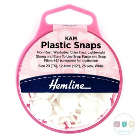 Hemline Kam Snaps - White - Easy Snap Buttons - for use with Kam Snap Pliers