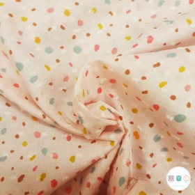 Baby Pink Confetti Party - Dobby - 100% Cotton - 80gr/m2 - Designed for You by Poppy - Dressmaking Fabric