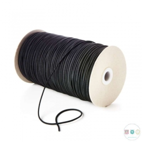3mm Thick Black Round Elastic - Hat Elastic - Millinery - Dressmaking