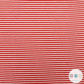 Red and White Reversible Reversible Cotton Jersey - Stripes and Spots - by Stenzo Textiles - Dressmaking Textiles