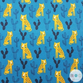 Organic Cheetah On Teal - Childrens Animal Print - Cotton Jersey Fabric - by Stenzo - Dressmaking Textiles