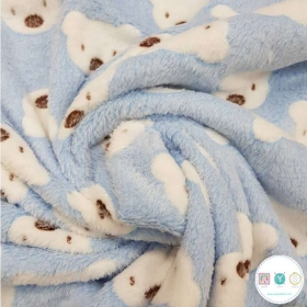 Teddys On Baby Blue - Supersoft Minky Style - Plush - Fleece Fabric