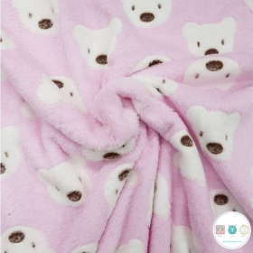 Teddys On Pink - Supersoft  Minky Style - Plush - Fleece Fabric
