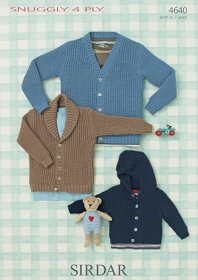 Sirdar Boys Cardigans in Snuggly 4 Ply Yarn 4640