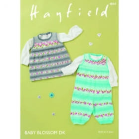 Dungarees and Pinafore in Hayfield Baby Blossom DK 4844 - Knitting Pattern