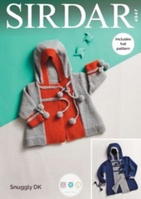 Sirdar 4947 - Child Pompom Jacket Coats & Hats -Snuggly DK - Leaflet - Knitting Pattern