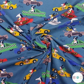 Dogs In Race Cars - Cotton Jersey Knit Fabric - 200gr/m2 - Childrens Textiles - Dressmaking