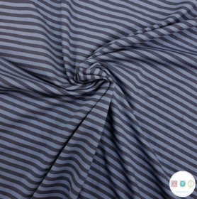 Blue On Blue Stripe - Cotton Jersey Knit Fabric - 300gr/m2 - Dressmaking Fabric