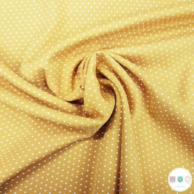 Tiny Dot On Mustard Yellow - Viscose Fabric - 160gr/m2 - Dressmaking Textiles