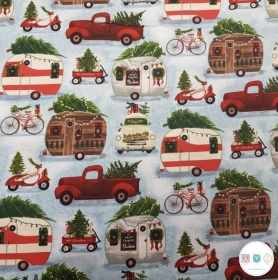 Merry Xmas Camper Scene - Christmas Theme Cotton Fabric - Patchwork & Quilting