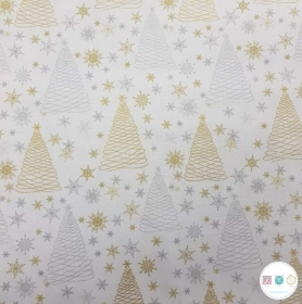 Merry Xmas Silver Gold - Christmas Trees Cotton Fabric - Patchwork & Quilting