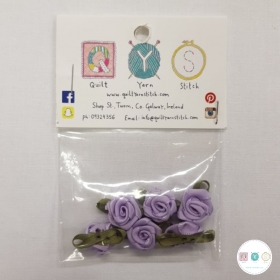 Lilac Purple Satin Roses - 6 Pack - Sew-On Embellishments - Trim - Haberdashery