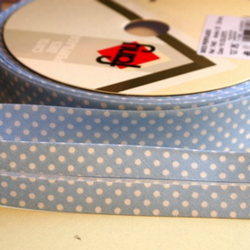 Dots On Baby Blue Bias Tape. Price per yard