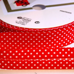 Dots On Red Bias Tape. Price per yard.