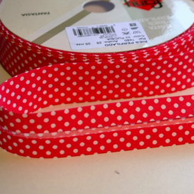 Dots On Pink Bias Tape. Price per yard.