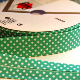 Dots On Teal/Jade Bias Tape. Price per yard.