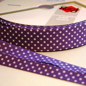 Dots On Purple Bias Tape. Price per yard.