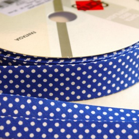 Dots On Royal Blue Bias Tape. Price per yard.