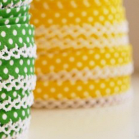 Yellow Dots Lace Bias Tape. Price per yard.