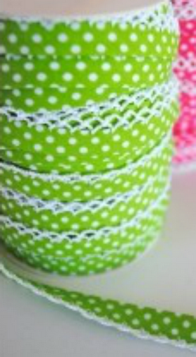 Green Dots Lace Bias Tape. Price per yard.