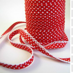 Red Dots Lace Bias Tape. Price per yard.