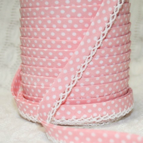 Pink 1 Lace Bias Tape. Price per yard.