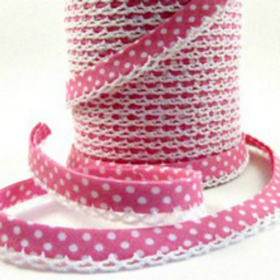 Pink2 Lace Bias Tape. Price per yard.