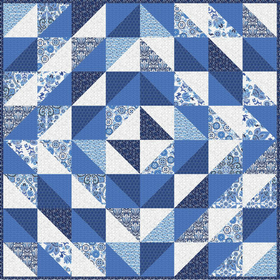 Simple Quilt Kit Indigo - Half Square Triangle Series