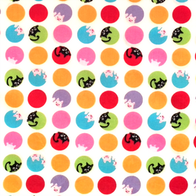 Cats in Circle Dots Material - Cotton Poplin Fabric by Rose and Hubble