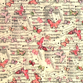 Musical Butterflies Material - Cotton Poplin Fabric by Rose and Hubble