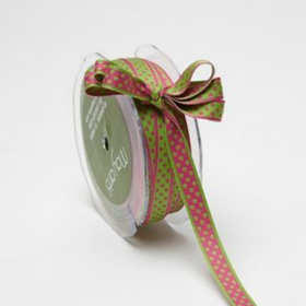 Pink Dots On Green Ribbon. Price per yard.