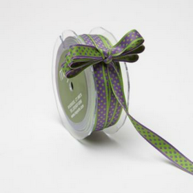 Green Dots on Purple Ribbon. Price per yard.