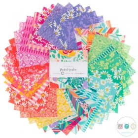 Painted Garden - Floral - Precuts - 5 inch - Charm Pack - by Crystal Manning for Moda Fabric