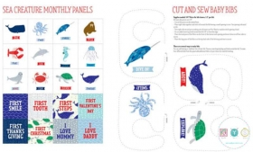 Ahoy! Sea Creatures Panel - Cut & Sew Baby Bibs and Milestones - by Gingiber for Moda Fabrics - Patchwork & Quilting