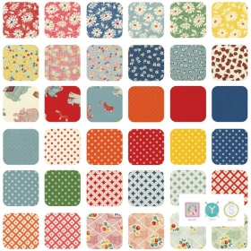 Small Daisy Orange Floral - Hop, Skip and a Jump by American Jane for Moda Fabric