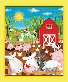 Animal Farm Childrens Cotton Fabric Panel - by Victoria Hutto for Quilting Treasures
