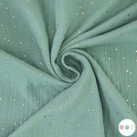 Gold Dot on Sage Green - Double Gauze - 100% Baby Cotton Muslin - Dressmaking Fabric