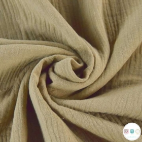 Beige Taupe  - Double Gauze - Muslin - 100% Baby Cotton - Dressmaking Fabric