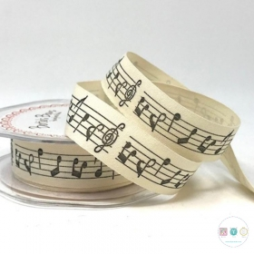 Music Note - 20mm - Cotton Ribbon - Tape - by Berties Bows - Haberdashery