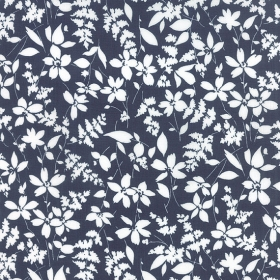 Navy Floral Cotton Backing Fabric - 108