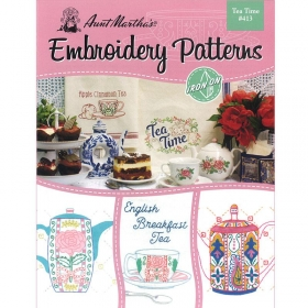 Aunt Martha's Embroidery Patterns Tea Time #413