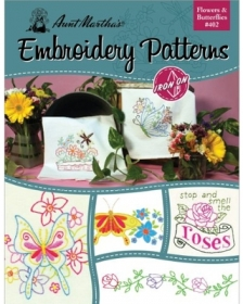 Aunt Martha's Embroidery Patterns Flowers & Butterflies #402