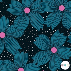 Ruby Star Society - Crescent - Black & Pink Floral Cotton Fabric - by Sarah Watts for Moda Fabrics - Patchwork & Quilting